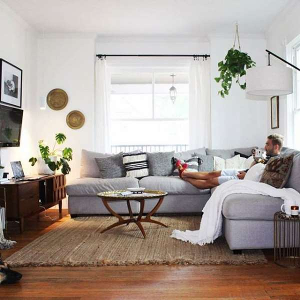 White Aspect over a Monstera in Living Room @thoughtfullythrifted